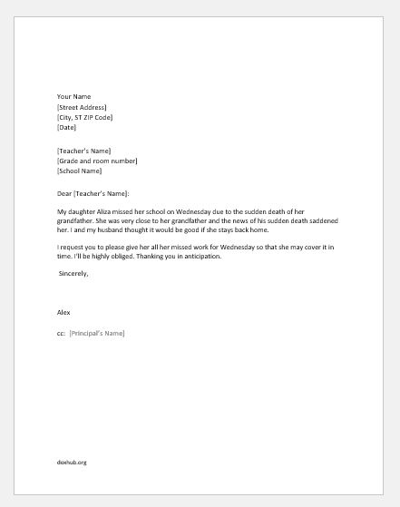 Excuse Letters for Child's Absence from School | Document Hub
