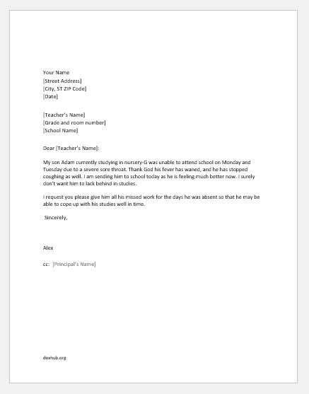 Letter Of Absent From Work from www.doxhub.org