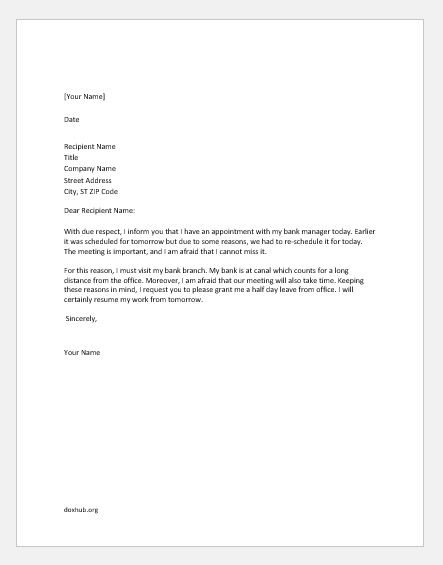 Half Day Leave Letters for Various Reasons | Document Hub