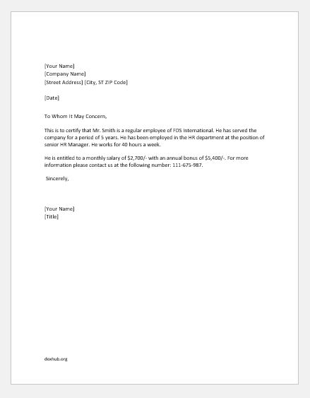 Employer Letter For Employee from www.doxhub.org