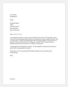 Medical excuse letter for work