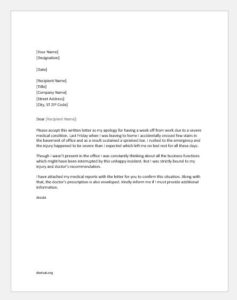 Medical excuse letter for office
