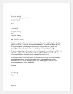Reprimand letter to an employee for poor attendance or tardiness