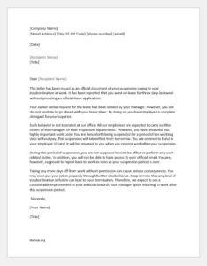 Suspension letter for insubordination