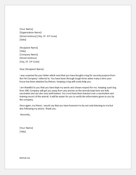 thank you letters for accepting recommendation