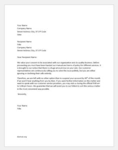 Warning Letter to Customer about Credit Suspension