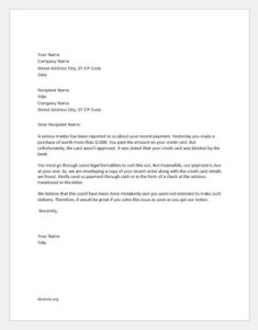 Warning Letter to Customer for Using Blocked Credit Card