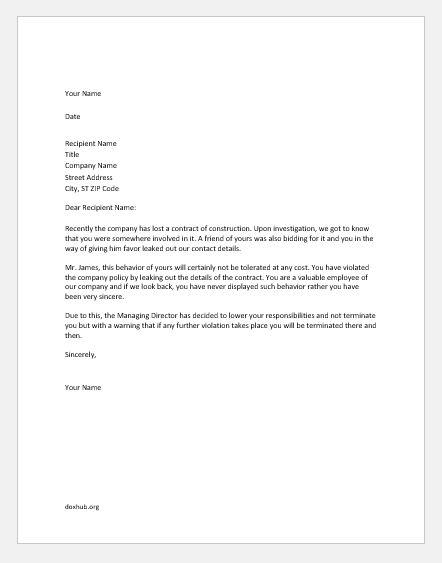 warning memo to employee