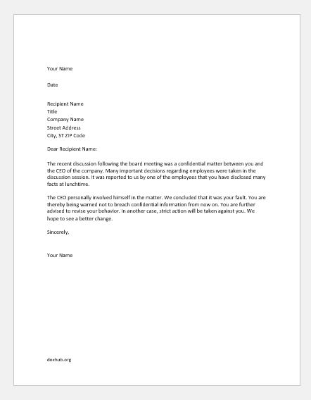 warning letter for breach of confidentiality