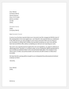 Warning letter to an employee for misconduct