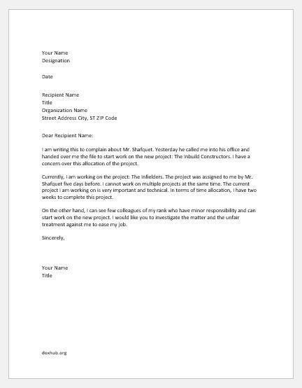 Resignation Letter For Unfair Treatment