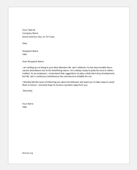 Complaint letter to boss about coworker mersnoforum complaint thecheapjerseys Choice Image