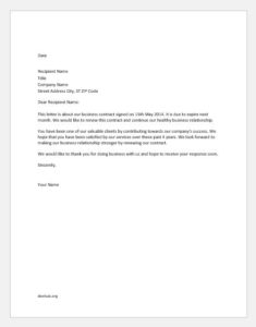 Contract renewal letter to the client