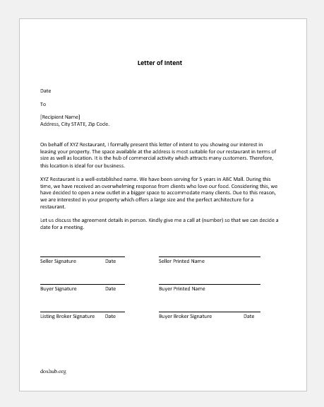Letter Of Intent To Rent A House from www.doxhub.org