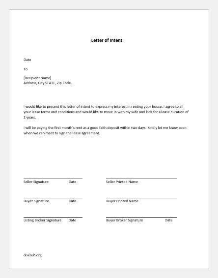 Letter Of Intent To Move Out from www.doxhub.org