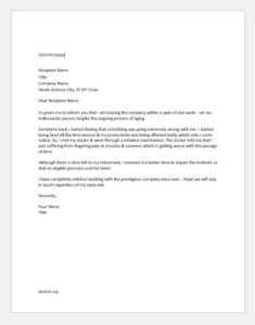 Resignation letter due to illness