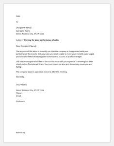 Letter to sales manager for poor performance