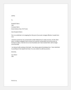 Resignation Letter for not being Valued or Appreciated