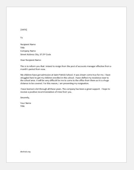 Sample Resignation Letter Personal from www.doxhub.org