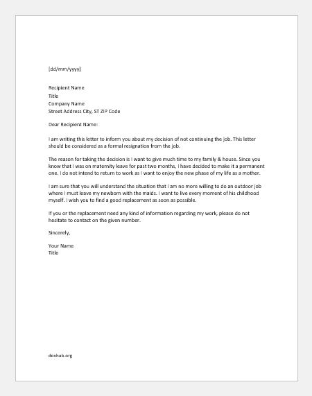 Back To Work Letter After Maternity Leave from www.doxhub.org