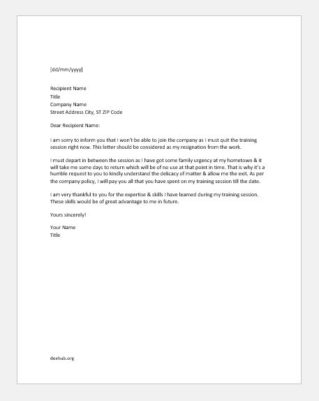 resignation letter during training period