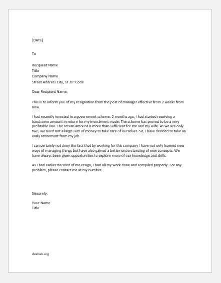 Letter Of Retirement Resignation from www.doxhub.org
