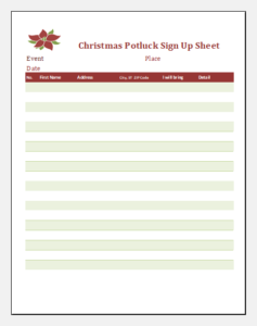 Christmas potluck sign up sheet