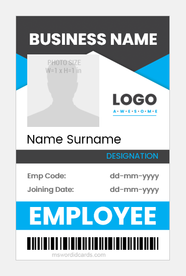 Company employee id badge template