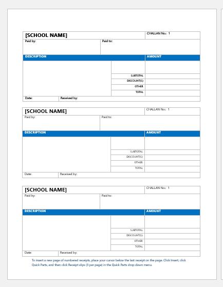 School fee payment receipt template