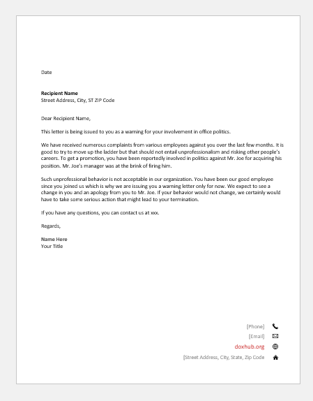 Complaint Letter To Boss About Coworker Sample from www.doxhub.org