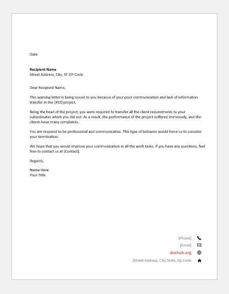 Final Warning Letter To Employee Poor Performance from www.doxhub.org