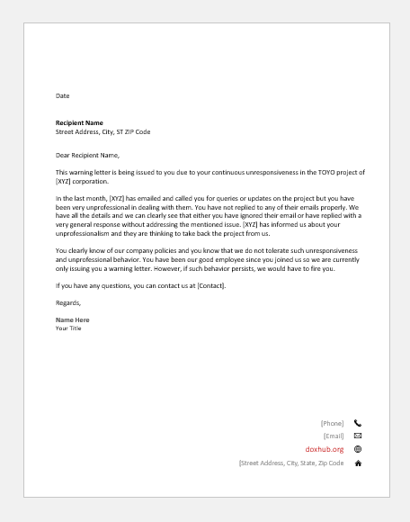 Example Of Disciplinary Action Letter from www.doxhub.org