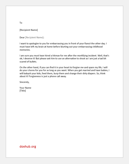 Public apology letter sample