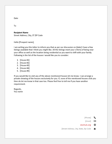 Letter by a real estate agent to a client about the properties he has selected