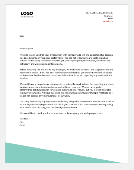 Employment Termination Letter Sample from www.doxhub.org
