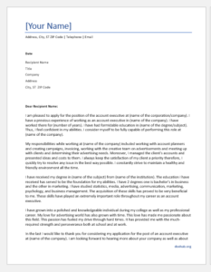 Cover Letter for an Account Executive