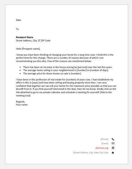 Letter by a realtor persuading his client to sell his home