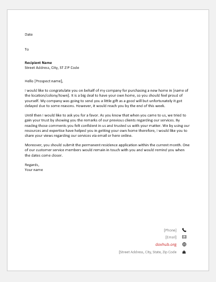 Letter by a realtor to client on his purchase and for feedback