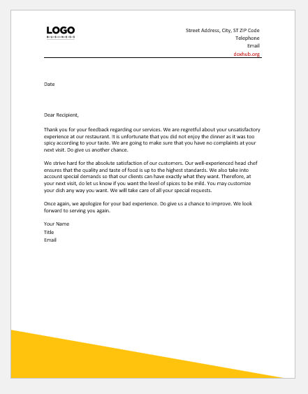 Response To A Customer Complaint Letter Sample from www.doxhub.org