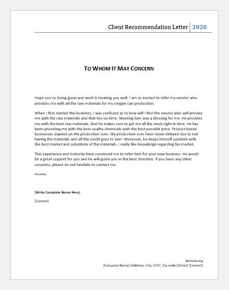 Vendor recommendation letter
