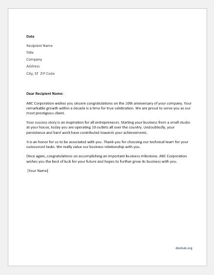 Letter to Note the Anniversary of a Customer's Company | Document Hub