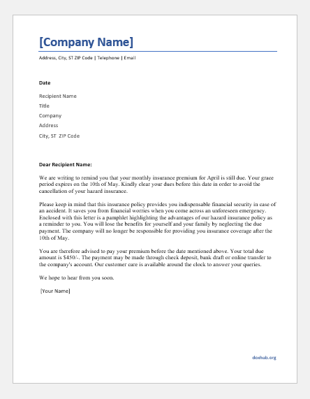 Sample Letter To Insurance Company To Pay Claim from www.doxhub.org