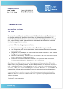 Letter to issue directives to establish change or reaffirm a policy