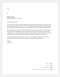 Letter to Announce an Employee for a Position