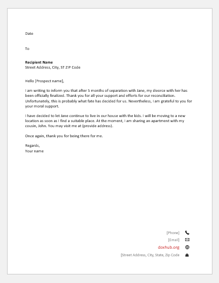Letter to announce the divorce