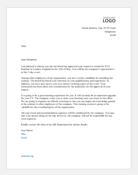 Letter to approve attending a conference or seminar
