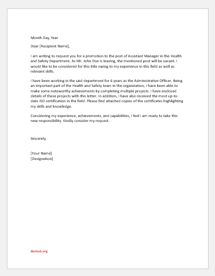Request letter to manager for promotion