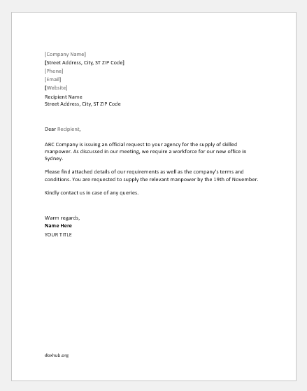 Request Letter for Manpower Supply