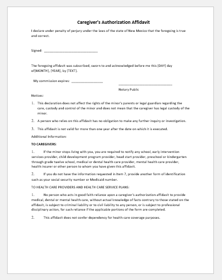 Caregiver authorization affidavit template