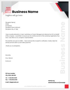 Reimbursement letter for fee